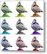 Pigeon Pop Art 5516 - Fs - Wb - M-  Modern Animal Artist James A Metal Print