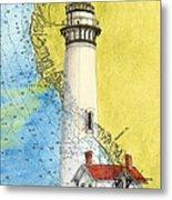 Pigeon Pt Lighthouse Ca Nautical Chart Map Art Metal Print