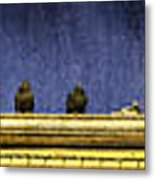 Pigeons On Yellow Roof Metal Print