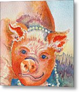 Piggy In Pearls Metal Print