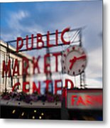 Pike Place Public Market Neon Sign Metal Print