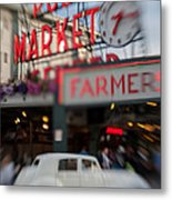 Pike Place Publice Market Neon Sign And Limo Metal Print