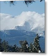 Pikes Peak Under The Clouds Metal Print