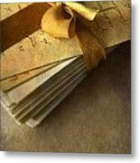 Pile Of Letters With Golden Ribbon Metal Print