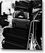 pile of luggage on trolley being pushed out of Reina Sofia Sur TFS South Airport Tenerife Canary Islands Spain Metal Print