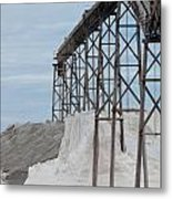 Pile Of Sea Salt Under Conveyor Of Saline Refinery Metal Print