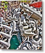 Piles Of Engines - Automotive Recycling Metal Print by Crystal Harman