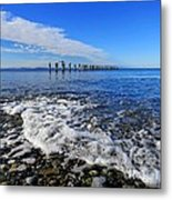 Pilings In The Ocean Metal Print
