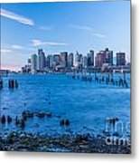 Pilings On Boston Harbor Metal Print