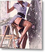 Pin-up Maid Metal Print