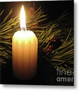 Pine Bough And Candle Metal Print