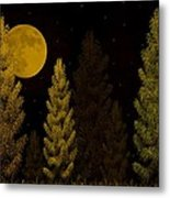 Pine Forest Moon Metal Print