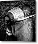 Pine Needles On Tail Light In Black And White Metal Print