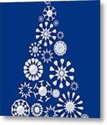 Pine Tree Snowflakes - Dark Blue Metal Print