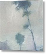 Pine Trees Through The Twilight Mist Metal Print by Alan Daysh
