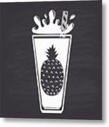 Pineapple Juice Drawn In Chalk In A Metal Print