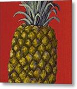 Pineapple On Red Metal Print