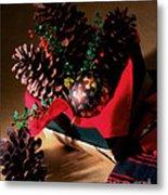 Pinecones Christmasbox Painted Metal Print