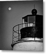 Piney Point Lighthouse And Moon In Black And White Metal Print