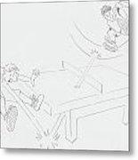 Ping Pong Cartoon Metal Print