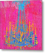 Pink And Blue Chandelier Metal Print