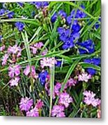 Pink And Blue Garden Metal Print