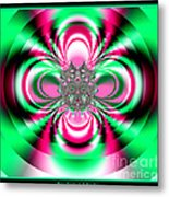 Pink And Green Rotating Flower Fractal 74  Metal Print