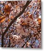 Pink And Leaves Metal Print