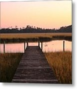 Pink And Orange Morning On The Marsh Metal Print