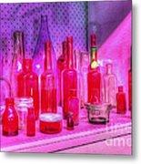 Pink And Red Bottles Metal Print by Kaye Menner