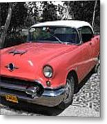 Pink And White Cuban Taxi Metal Print