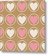 Pink And White Hearts Metal Print
