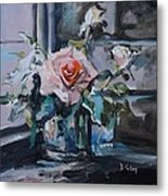 Pink And White Roses In Silver Mug Metal Print