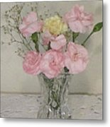 Pink And Yellow Floral  Metal Print