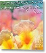 Pink And Yellow Lantana With Verse Metal Print by Debbie Portwood