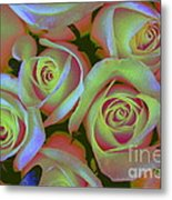 Pink And Yellow Roses Pop Art Metal Print