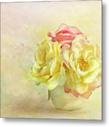 Pink And Yellow Roses Metal Print