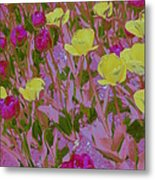 Pink And Yellow Tulips Pop Art Metal Print