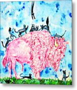 Pink Bison And Black Cats Metal Print