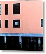 Pink Building On The Wharf Metal Print