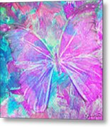 Pink Butterfly By Jan Marvin Metal Print
