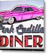 Pink Cadillac Diner Metal Print