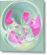 Pink California Poppy Orb Metal Print