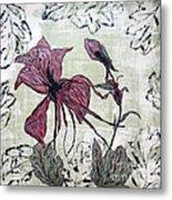 Pink Dragonfly Flora Metal Print