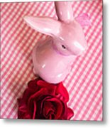 Pink Easter Bunny Decoration Metal Print