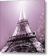 Pink Eiffel Tower Paris Metal Print