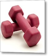 Pink Fixed-weight Dumbbells Metal Print