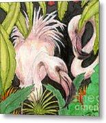 Pink Flamingos Jungle Cathy Peek Tropical Bird Art Metal Print