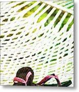Pink Flip Flops On Backyard Rope Hammock Vintage Scratched Style Metal Print