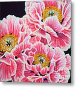 Peony Painting Oil On Canvas No.2 Metal Print by Drinka Mercep